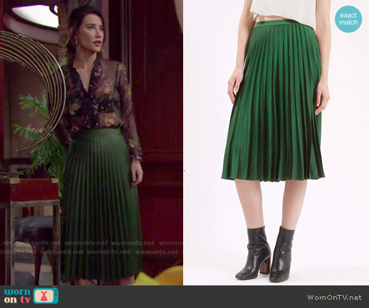 Topshop Satin Pleated Midi Skirt worn by Steffy Forrester on The Bold & the Beautiful