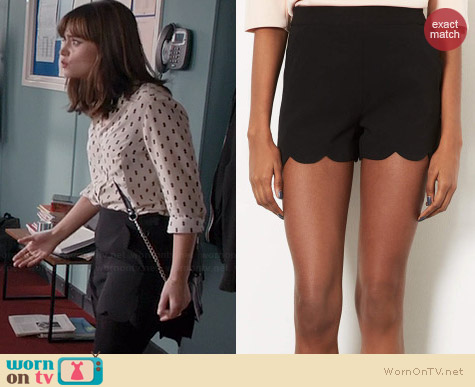 Topshop Scallop Hem Shorts worn by Jenna Coleman on Doctor Who