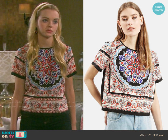 Topshop Scarf Print Short Sleeve Shirt worn by Olivia Rose Keegan on Days of our Lives