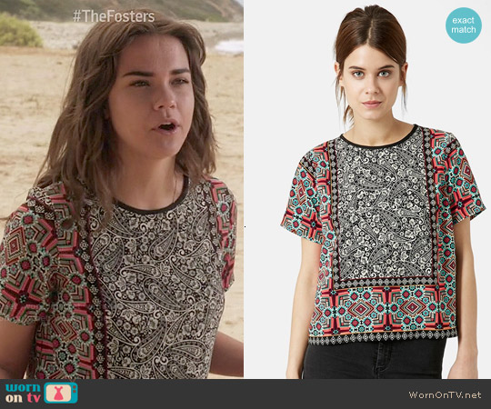 Topshop Scarf Print Top worn by Maia Mitchell on The Fosters
