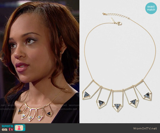 Topshop Semi Precious Arrow Collar Necklace worn by Reign Edwards on The Bold & the Beautiful