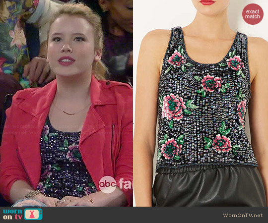 Topshop Sequin Flower Top worn by Taylor Spreitler on Melissa & Joey