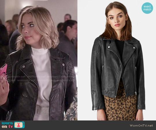 Topshop Sheepskin Leather Biker Jacket worn by Hanna Marin on PLL
