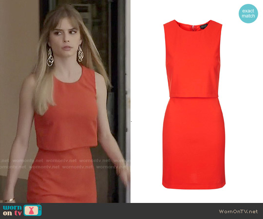 Topshop Sleeveless Curved Hem Overlay Dress worn by Carlson Young on Scream