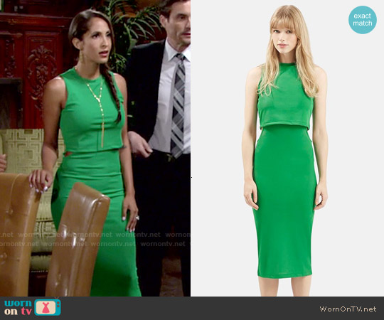 Topshop Sleeveless Cutout Midi Dress in Bright Green worn by Christel Khalil on The Young & the Restless