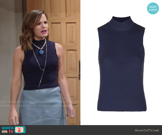 Topshop Sleeveless Turtleneck Top worn by Chelsea Lawson on The Young & the Restless