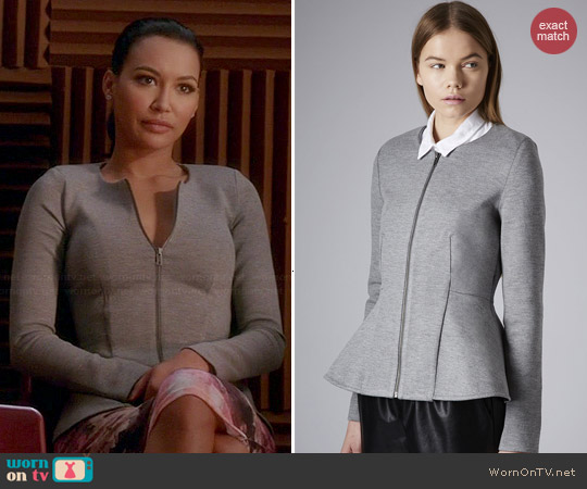 Topshop Slim Peplum Zip Jacket worn by Naya Rivera on Glee