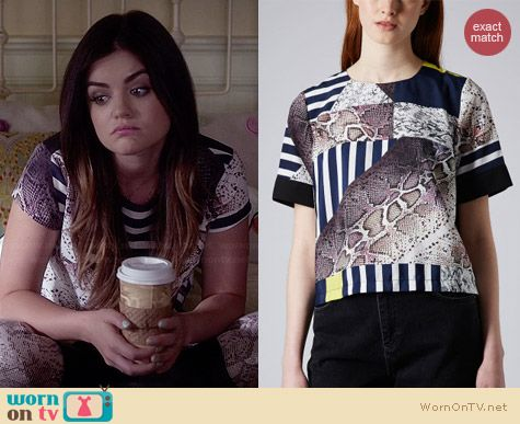 Topshop Snake Cutabout Tee worn by Lucy Hale on PLL
