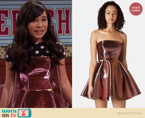 Topshop Strapless Metallic Skater Dress worn by Cecelia Balagot on Girl Meets World