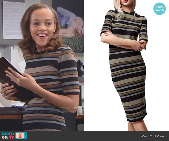 Topshop Stripe Body-Con Midi Dress worn by Reign Edwards on The Bold & the Beautiful