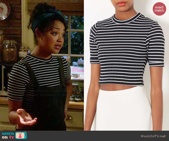 Topshop Stripe Crop Top worn by Aisha Dee on Chasing Life