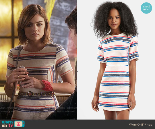 Topshop Stripe Jacquard A-line Dress worn by Lucy Hale on PLL