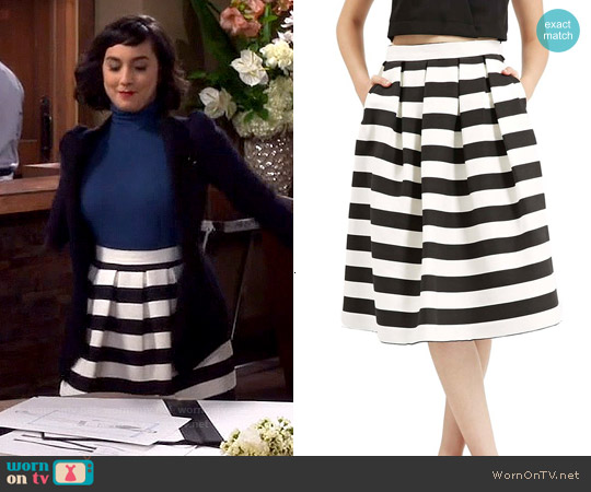Topshop Stripe Midi Skirt worn by  Molly Ephraim on Last Man Standing