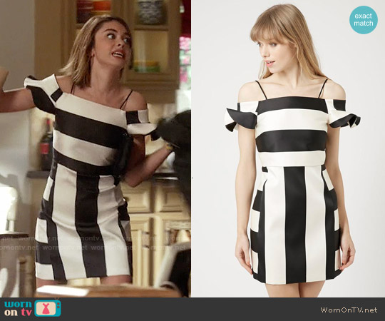 Topshop Stripe Bardot Dress worn by Sarah Hyland on Modern Family