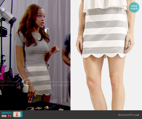 Topshop Striped Scallop Hem Skirt worn by Reign Edwards on The Bold & the Beautiful