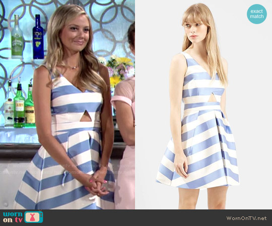 Topshop Stripe V-neck Cutout Dress worn by Melissa Ordway on The Young & the Restless