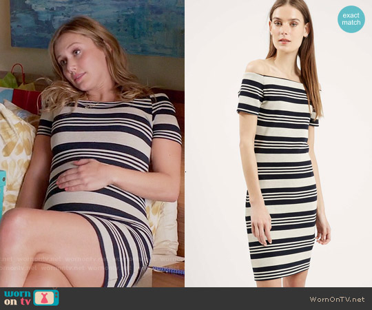 Topshop Striped Bardot Bodycon Dress worn by Julianna Guill on GG2D