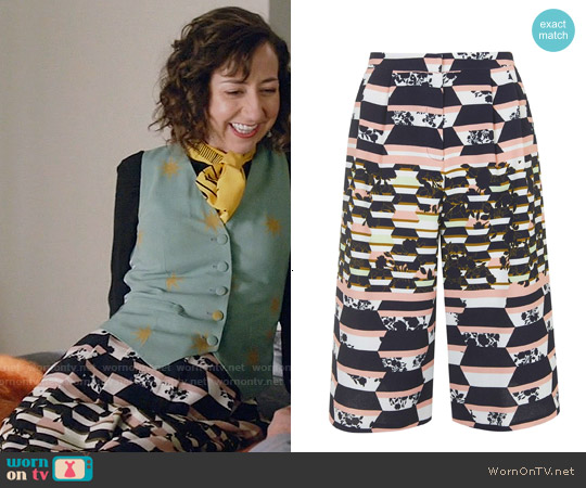 Topshop Striped Floral Print Culottes worn by Carol Pilbasian on Last Man On Earth