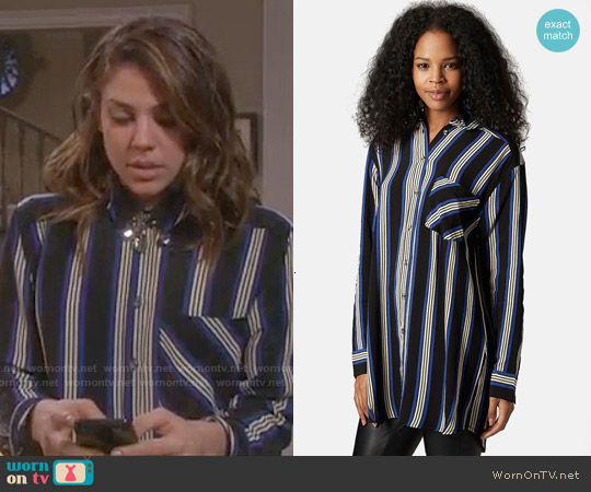 Topshop Oversize Stripe Shirt worn by Marci Miller on Days of our Lives
