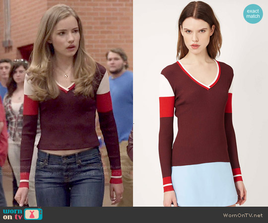 Topshop Striped V-neck Jumper by Unique worn by Willa Fitzgerald on Scream