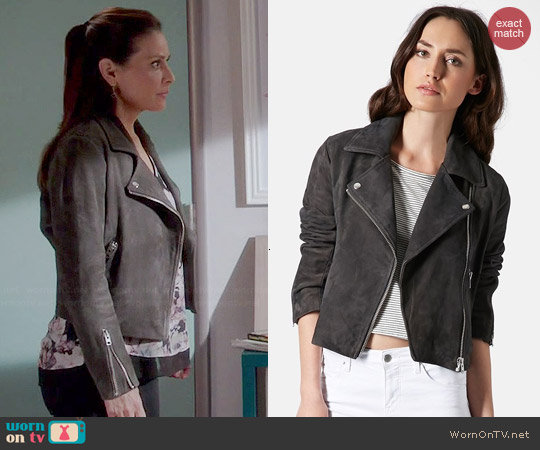Topshop Suede Biker Jacket worn by Constance Marie on Switched at Birth
