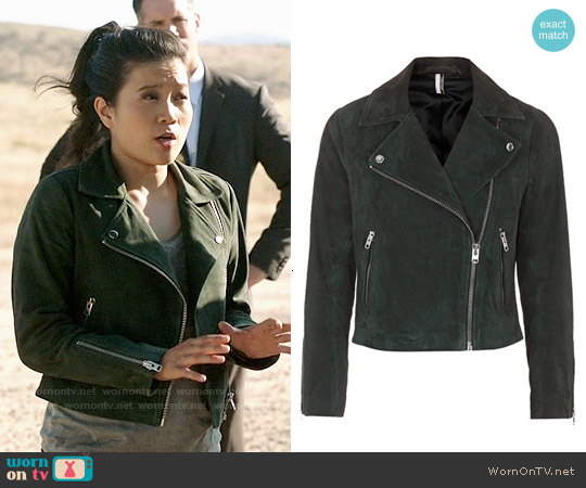 Topshop Suede Caddy Jacket in Dark Green worn by Jadyn Wong on Scorpion