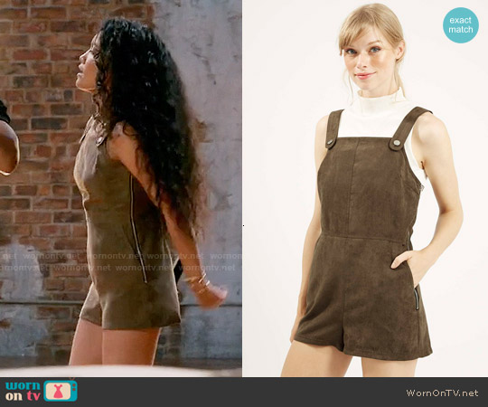 Topshop Suedette Military Romper worn by Jamila Velazquez on Empire