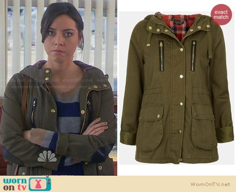 Topshop Talbot Parka with Leather Elbow Patches worn by April Ludgate on Parks & Rec