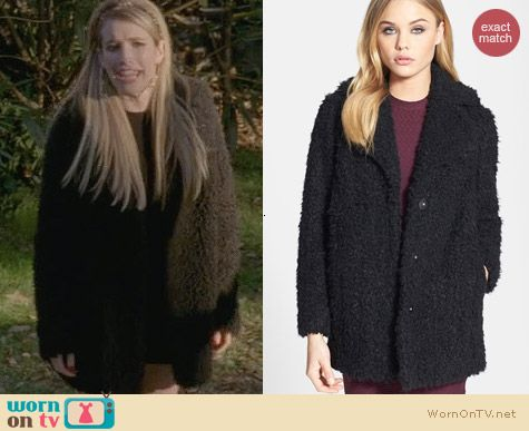 Topshop Teddy Faux Fur Jacket worn by Emma Roberts on AHS Coven