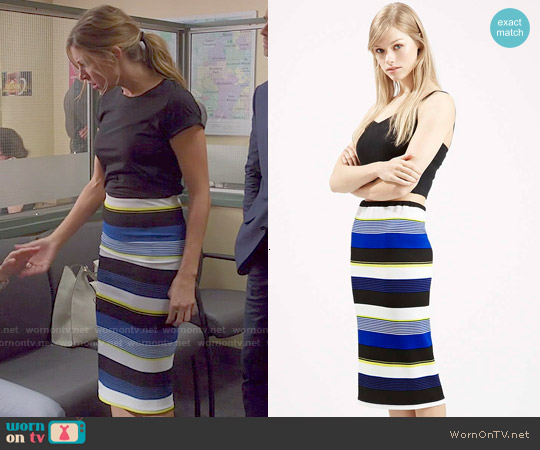 Topshop Textured Stripe Tube Skirt worn by Jes Macallan on Mistresses