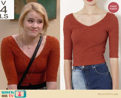Topshop Textured Top in Rust worn by Taylor Sprietler on Melissa & Joey