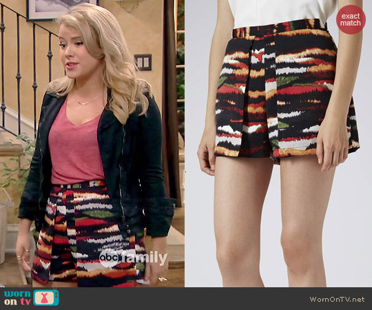 Topshop Tiger Print Skort worn by Taylor Spreitler on Melissa & Joey