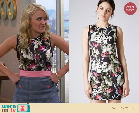 Topshop Island Life Tropical Print Bodycon dress worn by Emily Osment on Young & Hungry