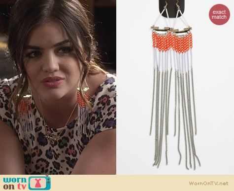 Topshop Tube Chain Earrings worn by Lucy Hale on PLL