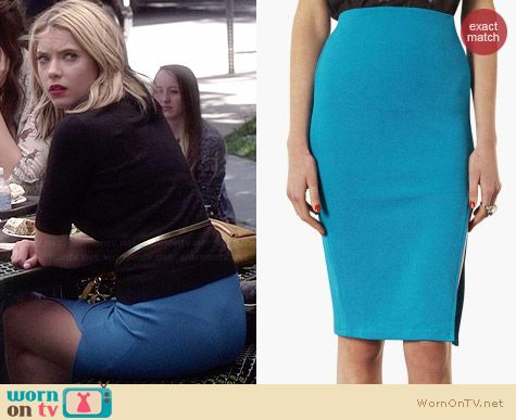 Topshop Turquoise Textured Pencil Skirt worn by Ashley Benson on PLL