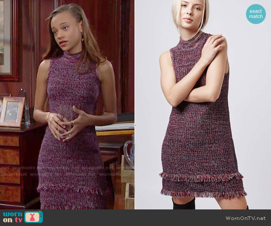 Topshop Tweedy Fringe Dress worn by Reign Edwards on The Bold & the Beautiful