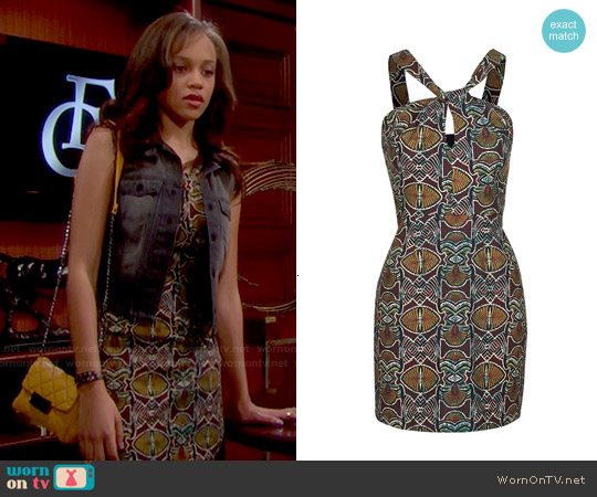 Topshop Twist Front Print Dress worn by Reign Edwards on The Bold & the Beautiful