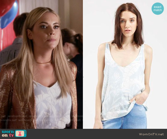 Topshop V-neck Palm Print Camisole worn by Ashley Benson on PLL