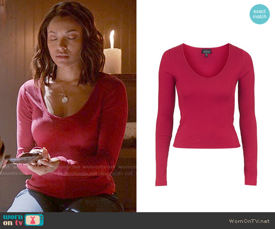Topshop V-neck Ribbed Top worn by Kat Graham on The Vampire Diaries