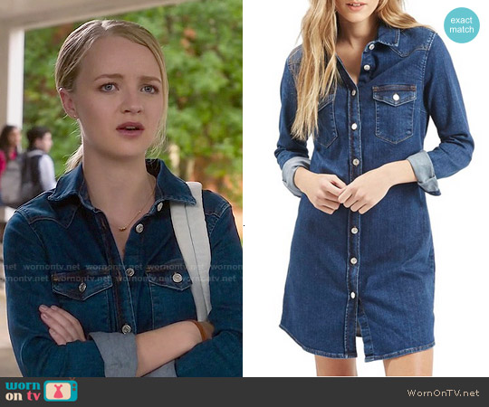 Topshop Western Denim Shirtdress worn by Anna Jacoby-Heron on Finding Carter