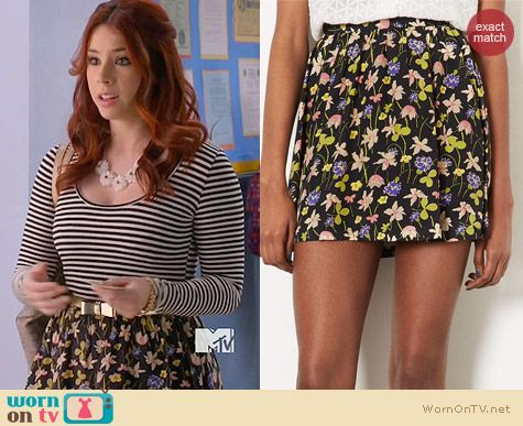 Topshop Wild Flower Flippy Skirt worn by Jillian Rose Reed on Awkward