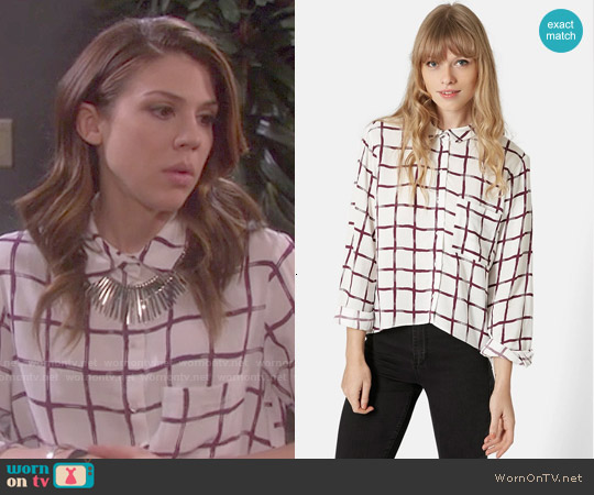Topshop Windowpane Curve Hem Shirt worn by Kate Mansi on Days of our Lives