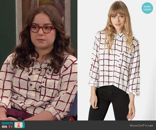 Topshop Windowpane Curved Hem Shirt worn by Sarah Gilman on I Didnt Do It