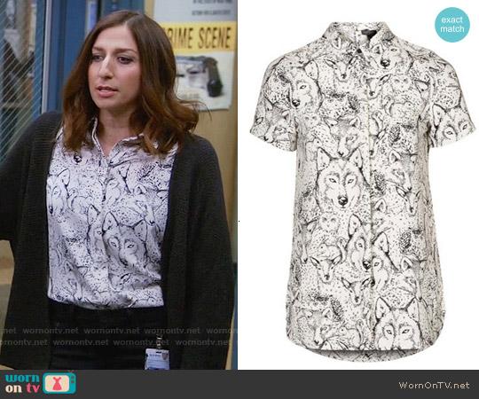 Topshop Wolf Print Shirt worn by Chelsea Peretti on Brooklyn Nine-Nine