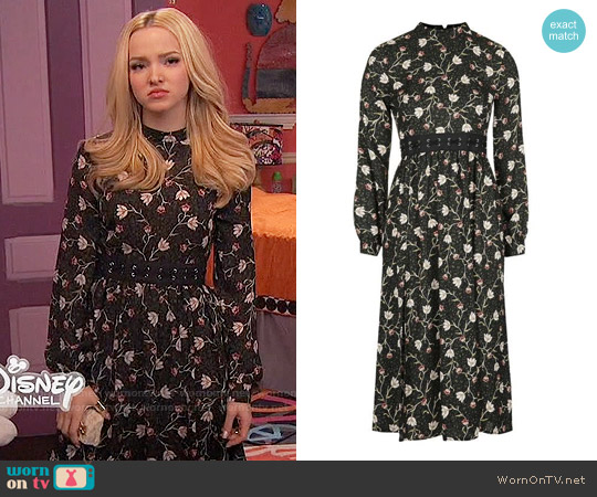 Topshop Woodland Floral Lattice Waist Dress worn by Dove Cameron on Liv & Maddie