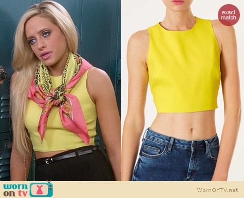 Topshop Yellow Cutout Crop Top worn by Carly Chaikin on Suburgatory