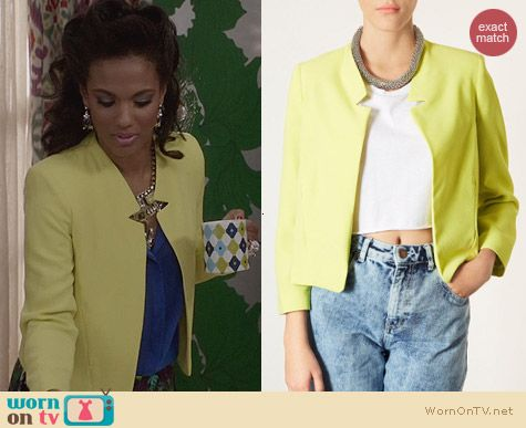 Topshop Yellow Romeo Notch Lapel Jacket worn by Freema Agyeman on The Carrie Diaries