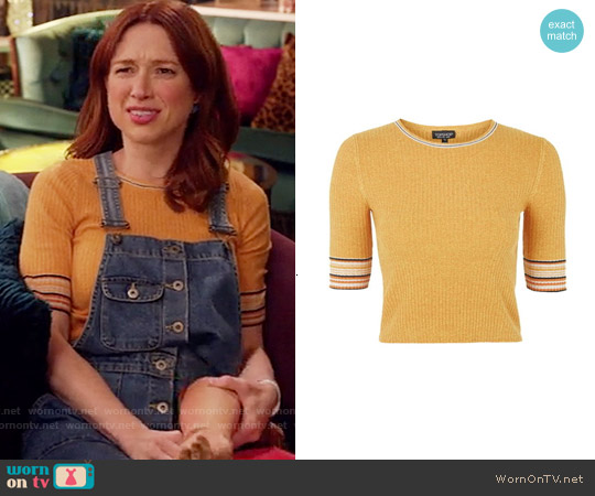 Topshop Stripe Trim Crop Top worn by Kimmy Schmidt on Unbreakable Kimmy Schmidt