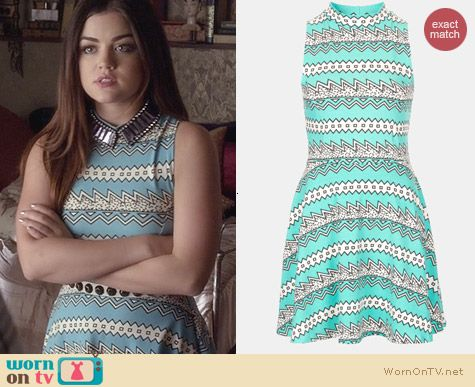 Topshpo ZigZag Fit & Flare Dress worn by Lucy Hale on PLL