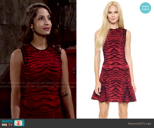 Torn by Ronny Kobo Malu Tijer Jacquard Dress worn by Christel Khalil on The Young & the Restless
